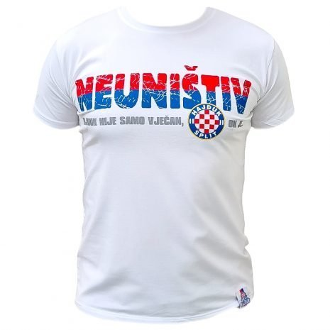 Hajduk majica bijela s natpisom Hajduk nije samo vječan, on je Neuništiv
