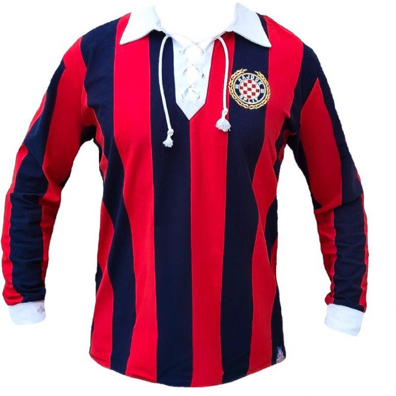 Hajduk majica retro dugi rukav crveno plava nalik starom dresu