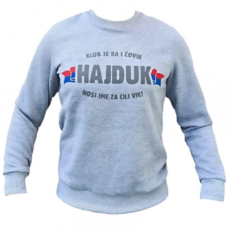 Hajduk topla siva majica dugih rukava s natpisom Klub neka se Hajduk zove